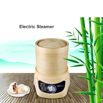 Harga 3-layer Electric Steamer Bamboo Material Food Steamer Bamboo Steamer - intl