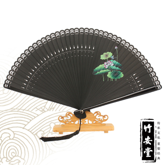 Harga [Ann hall] * printing bamboo full bamboo * mini santanyinyue lotus classical chinese style folding fan female fan