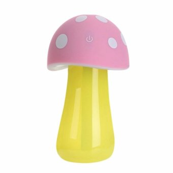 Harga Mini Mushroom Lamp Humidifier USB Portable Air Purifier (Pink)