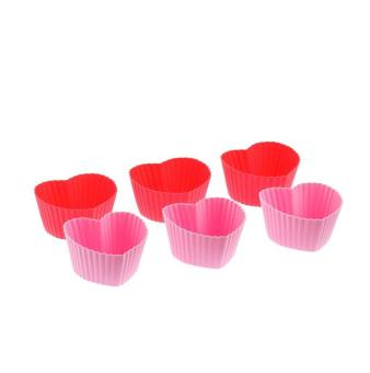 Harga Silicone Heart Shape Muffin Cake Cases, Set Of 6