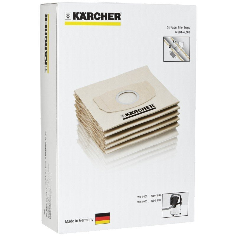 Karcher WD2 - MV2 Dust Bag With 5 Paper Filter Bags Singapore