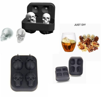 leegoal 3D Skull Flexible Silicone Ice Cube Mold Tray, Makes FourGiant Skulls, Round Ice Cube Maker, Black - intl - 3