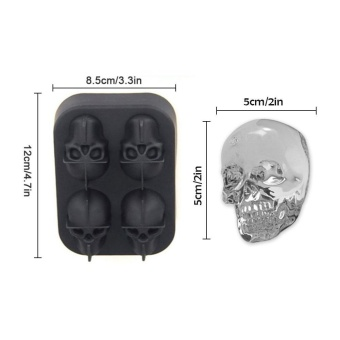 leegoal 3D Skull Flexible Silicone Ice Cube Mold Tray, Makes FourGiant Skulls, Round Ice Cube Maker, Black - intl - 2