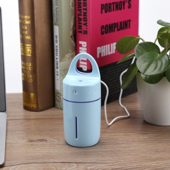 Portable Car Home USB Colorful Night Light Cup Shape Humidifier AirDiffuser Mist Maker (Blue) - intl - 2