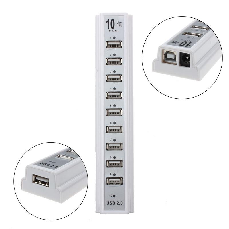 10 Port Hi-Speed USB 2.0 Hub With Power Adapter For PC Laptop Computer - intl