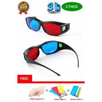 2PACK Re-useable Blue + Red 3D Glasses for 3D movies and Games -intl