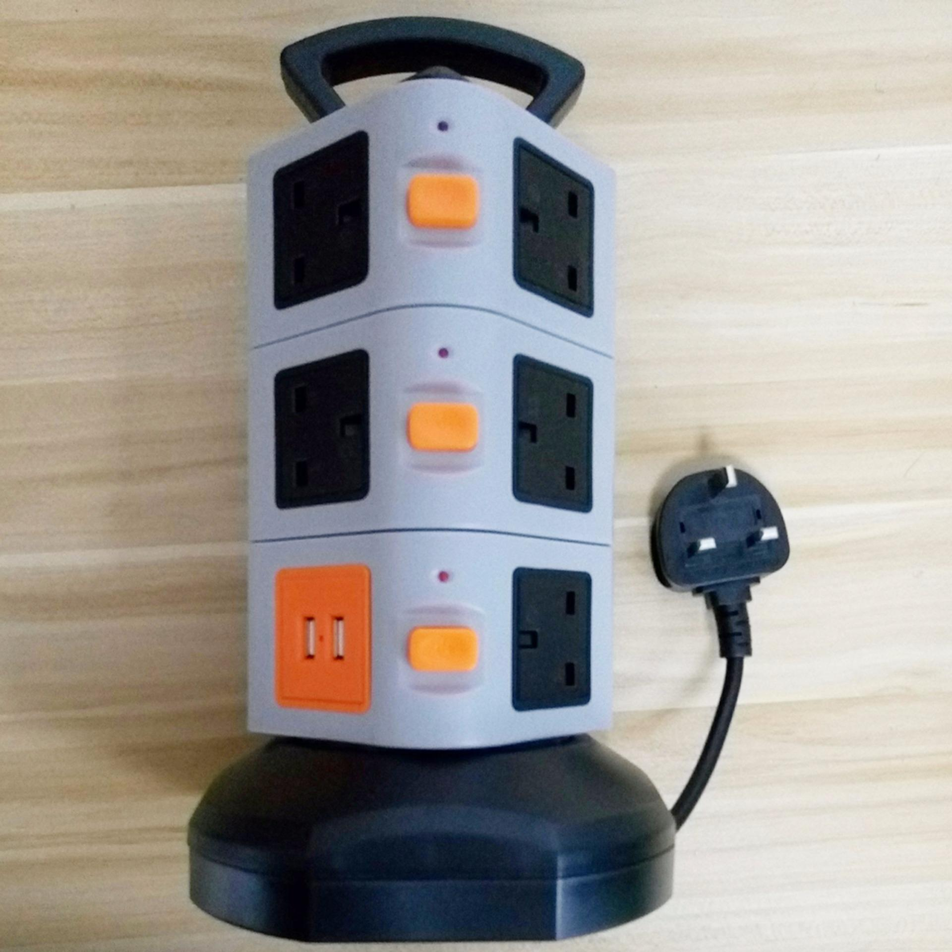 3 Layer Tower Smart Electrical Socket with 2 USB charger UK Output ...