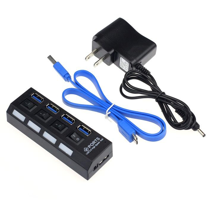 4 Ports USB 3.0 HUB With On/Off Switch Power Adapter For DesktopLaptop - intl
