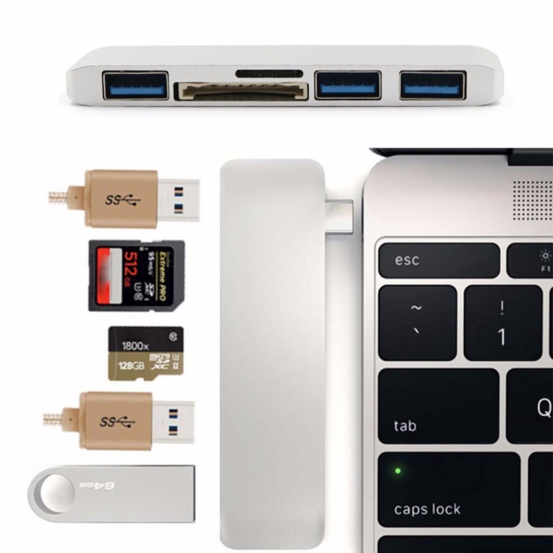 5-In-1 USB Type C To USB 3.0 Hub Adapter SD TF Card Reader For Chromebook MacBook - intl