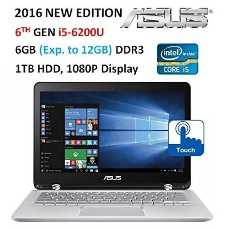 "Asus (2016 ) Premium High Performance 2-in-1 Convertible Laptop PC, 13.3"" Full HD Touch-Screen Display, Intel Core i5-6200U, 6GB Memory, 1TB HDD, Backlit Keyboard, Bluetooth, Windows 10 - intl"