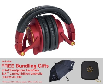 Audio Technica ATH-M50xRD Limited Edition Studio Monitoring Headphones (Red)