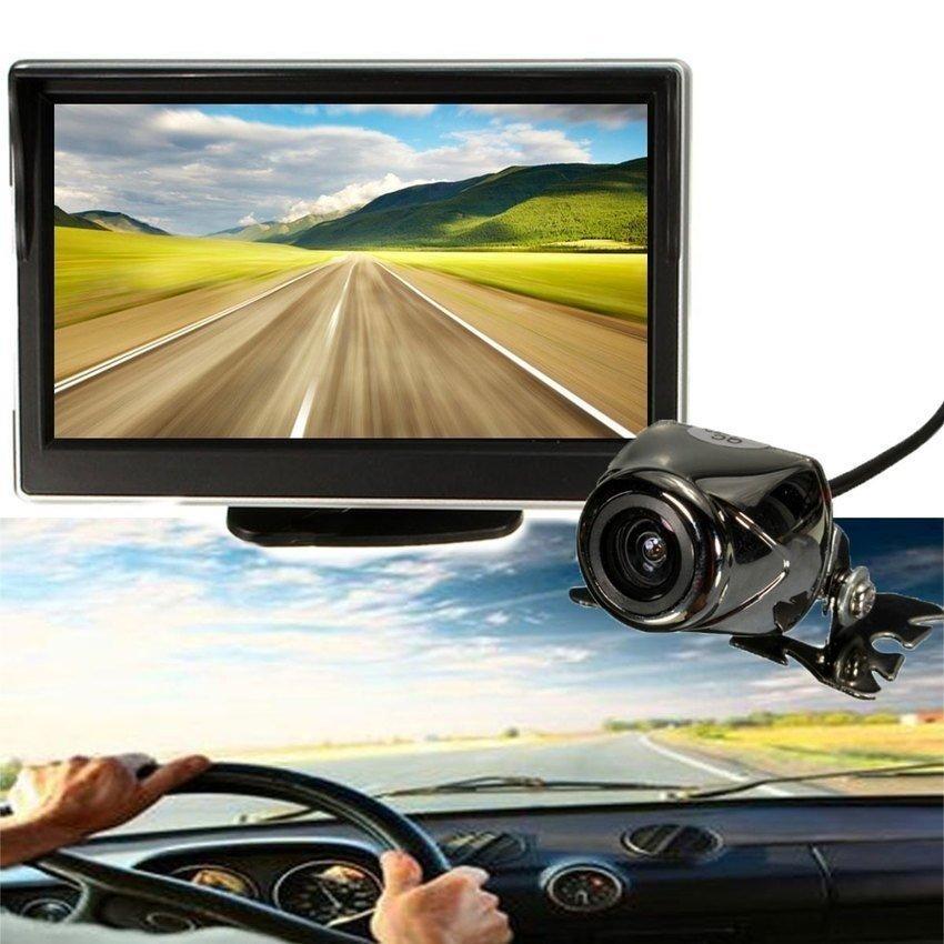 Car 5 LCD Monitor IR Wireless RearViewBackupCameraReversingWaterproof Kit - intl