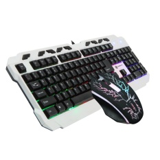 Computer Desktop USB Wired Rainbow Backlit Game Mouse and Keyboard Set - intl Singapore