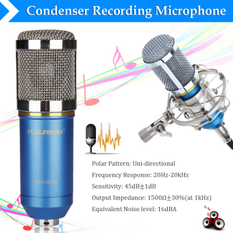 Harga Floureon BM-800 Cardioid Condenser Microphone With Shock Mount(Blue)