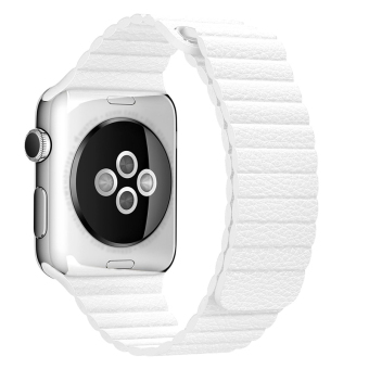 42MM Magnetic Leather Loop Watch Band For Apple Watch Adjustable Wrist Strap With Adapters(White)