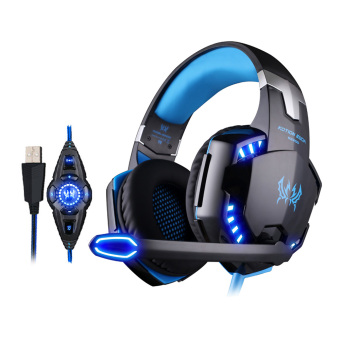Harga EACH G2200 USB 7.1 Surround Sound Vibration Gaming Headphone Computer Headband with Microphone LED Light (Black/Blue) (EXPORT)