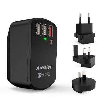 Arealer Quick Charger 3.0 Trial 42W USB Wall Charger with Two Smart USB Charger One Qualcomm Certified QC 3.0 Foldable Plug for Samsung Galaxy S7/S6 Note LG HTC iPhone - intl