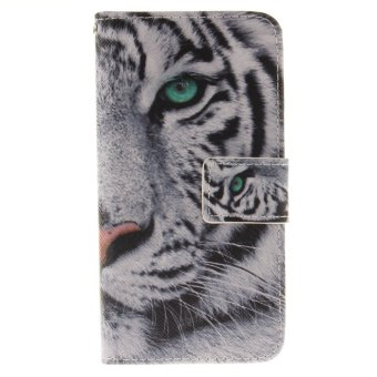 "Harga Painted Tiger pattern flip stand PU leather case for iphone 7 plus 5.5"" with card slot wallet cell phone cases - intl"