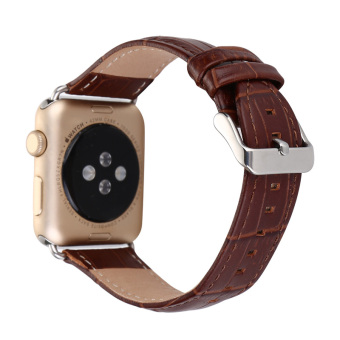 Harga Luxury Crocodile Pattern Leather Wrist Watch Band Strap Belt for iwatch Apple Watch (42mm Brown)