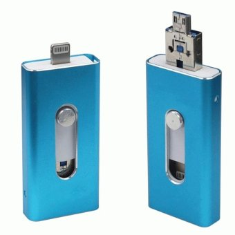 Harga 128GB OTG USB Flash Drive 3 In 1 For Apple iPhone iPad iPod Mobile Android And Pc(Blue) - intl