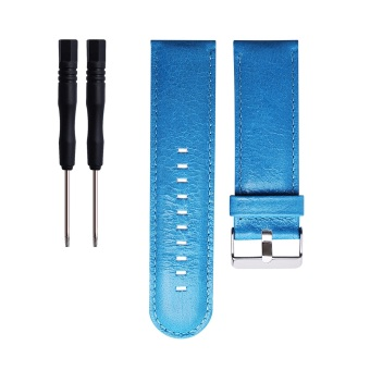 Leather Wrist Watchband Strap for Garmin D2 Fenix Fenix2 Fenix3/HR Quatix Quatix3 Tactix GPS watch in Blue - intl