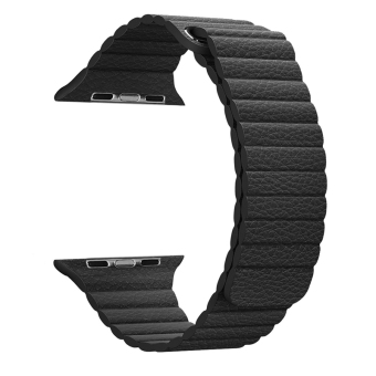 42MM Magnetic Leather Loop Watch Band For Watch Adjustable Wrist Strap With Adapters(Black)