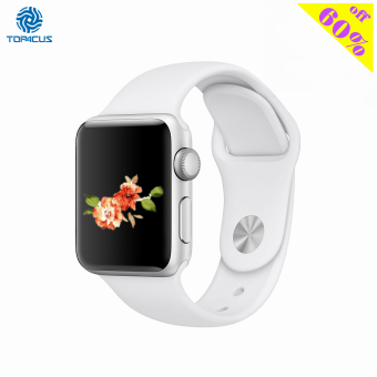 Harga top4cus Silicone Replacement Sport Strap Watch Band for Apple Watch iwatch Series 1 and 2 - 42mm - Medium/Large - White