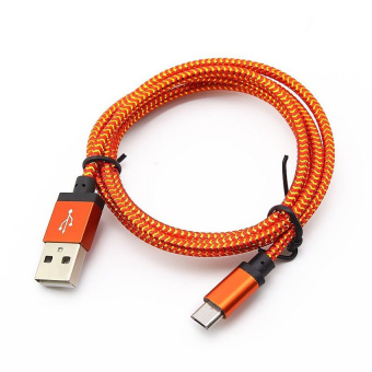 Harga Yika 3M Micro USB A to USB 2.0 B Braided Fast Data Sync Charging Cable For Android (Orange)