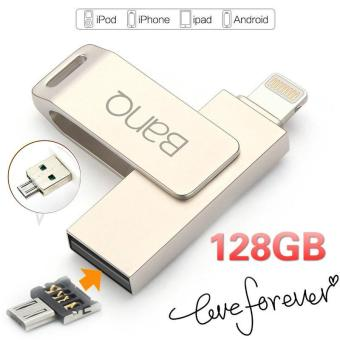 Harga 128GB 3 in1 OTG USB Flash Drives Pen Drive For iPhone iPad iPod APPLE MFi JetDrive (Silver) - intl