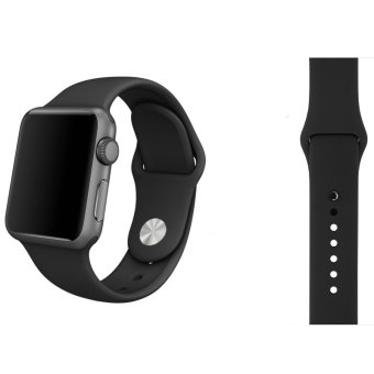 Harga Soft Silicone Watch Band Strap With Connector Adapter For Apple Watch iWatch 42mm (Black)(...)