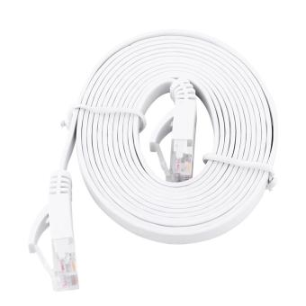 Harga RJ45 CAT6 Ethernet Network Flat LAN Cable UTP Patch Router Cables 1000M (White 2meters) - intl