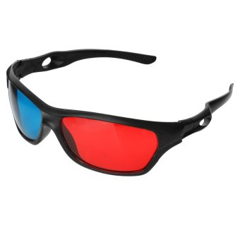 JEDX Universal 3D Plastic Frame Glasses - Black + Red + Blue (2 Pairs) - intl