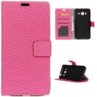 Moonmini Case for Samsung Galaxy J1 Mini Prime Case Woven Pattern Wallet Leather Case Magnetic Flip Stand Cover - Hot Pink - intl