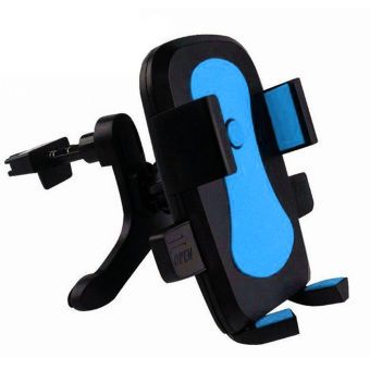 Universal 360 Degrees Rotation Car Clip-on Air Vent Mount Mobile Phone Holder Clips for iPhone Samsung Google 5-10cm Width Cellphones Blue - Intl