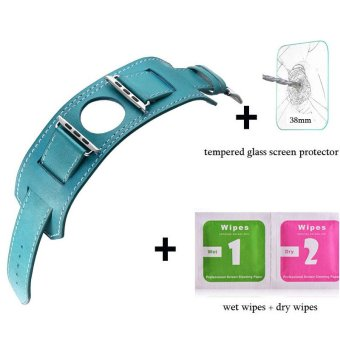 Harga Leather watch band Bracelet strap For Apple Watch Iwatch Series 1 Series 2(38mm blue) - intl