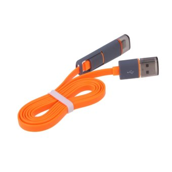 VAKIND 2-in-1 USB Data Charger Cable for iPhone (Orange)(Export)