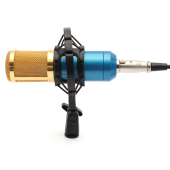 Harga BM800 Dynamic Condenser Microphone Mic Sound Studio Recording Kit w/ Shock Mount Blue