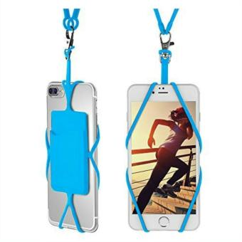 Harga Universal Silicone Phone Case Cover Holder with Sling Lanyard Necklace Wrist Strap for Cellphones(Sky blue) - intl