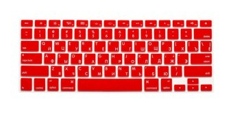 HRH Russian Silicone US Keyboard Cover Skin for Apple Macbook Pro Retina 13 15 17 MAC Air 13 (Red) (EXPORT)