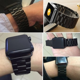 Harga Moonar Stainless Steel Bracelet Link Watch Band Strap with Connector for Apple Watch iWatch (Black-38mm) - intl