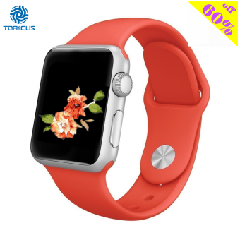 Harga top4cus Silicone Replacement Sport Strap Watch Band for Apple Watch iwatch Series 1 and 2 - 42mm - Medium/Large - Red