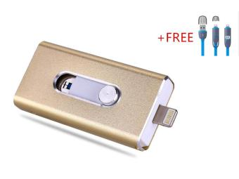 Harga 3 in 1 Flash Drive OTG 512GB phone U Disk For Iphone/Iphone 7/Android +Free 2 in 1 usb cable(gold)