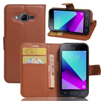 Flip Leather Wallet Cover Case For Samsung Galaxy J1 Mini Prime (Brown) - intl