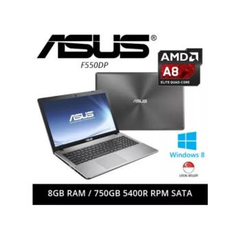 "Harga [Certified Refurbished] Asus F550DP 15.6"" AMD A8-5550M 8GB RAM 750GB 5400R RPM SATA Windows 8 Laptop (Grey)"