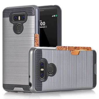 Harga Metal color case for LG G6 with credit card slot 2 in 1 tpu & plastic Double layer Shockproof protector - intl