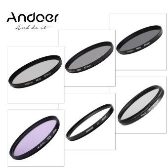 Harga Andoer 67mm UV+CPL+FLD+ND(ND2 ND4 ND8) Photography Filter Kit Set Ultraviolet Circular-Polarizing Fluorescent Neutral Density Filter for Nikon Canon Sony Pentax DSLRs (EXPORT)