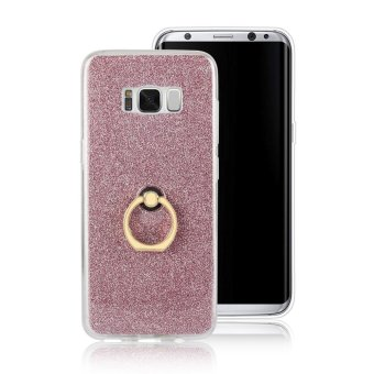 Harga TPU soft shell Case for Samsung galaxy S8 with ring kickstand stand 2 in 1 Transparent & flash shimmering powder for women - intl