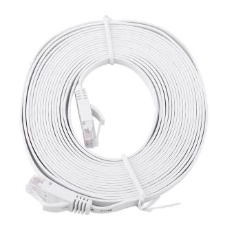 Harga RJ45 CAT6 Ethernet Network Flat LAN Cable UTP Patch Router Cables 1000M (White 5meters) - intl