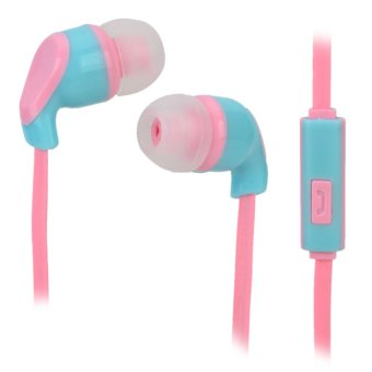 Harga S-What Stylish Universal 3.5mm Jack Wired In-ear Stereo Headset w/ Microphone - Blue + Pink - intl