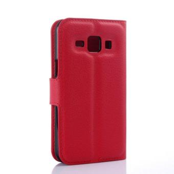 Wallet Flip Leather Case Cover For Samsung Galaxy J1 2016 (Red) - intl